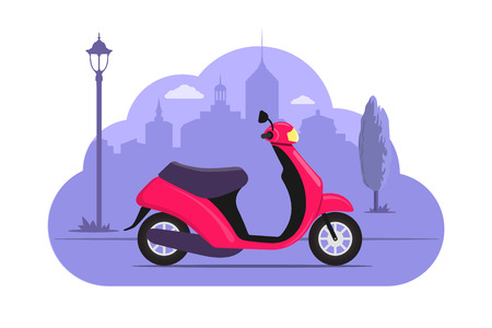 Cute mootorbike on city silhouette background. Pink scooter on purple monochrome background. Bike concept illustration for app or website. Modern transport. Flat style vector illustration