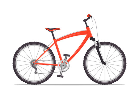 Modern city or mountain bike with V-brakes. Multi-speed bicycle for adults. Vector flat illustration, isolated on white
