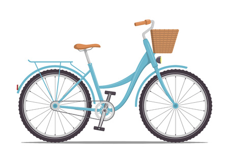Cute women s bike with a low frame and basket in front. Vintage bicycle. Vector illustration in flat style Ilustração