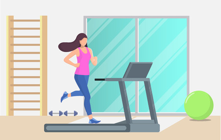 Young beautiful woman running on a treadmill in a gym. Girl running. Vector illustration in flat style Illustration