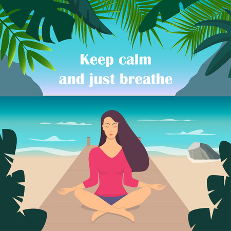 Young woman making meditation in lotus pose with closed eyes. Beautiful girl relaxes, practicing yoga on the seashore, surrounded by mountains and tropical plants. Vector flat illustration