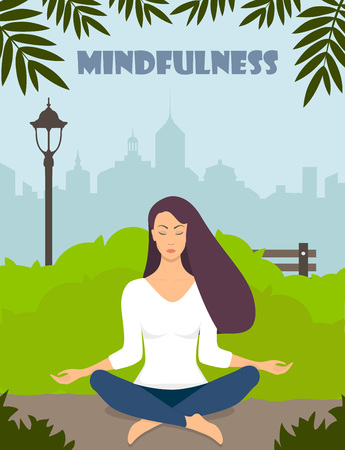 Young woman making meditation in lotus pose with closed eyes. Beautiful girl relaxes, practicing yoga in city park. Vector flat illustration Vettoriali