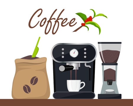 Coffee shop or cafe design illustration with coffee machine, sack with beans, grinder, cup. Tree branch with leaves and coffee berries. Advertising design template, vector