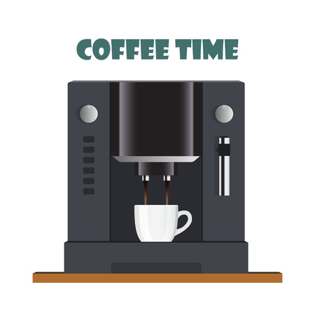 Modern coffee machine for home, restaurant, office or cafe. Coffee break concept illustration. Coffee machine pours freshly brewed coffee into a cup. Flat design, vector Çizim