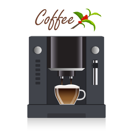 Modern coffee machine for home, restaurant, office or cafe. Coffee break concept illustration. Coffee machine pours freshly brewed coffee into a cup. Flat design, vector Illustration