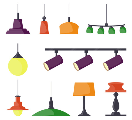 Lamps of different types, set. Chandeliers, lamps, bulbs, table lamp, spotlight - elements of modern interior. Vector illustration in flat style