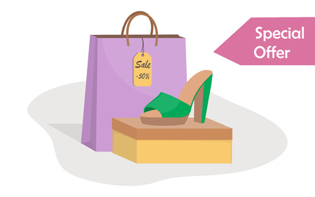 Stylish modern woman s shoes on box, side view, colorful paper bag and price tag with 50 percent discount. Sale in a shoe store. Footwear sale advertising banner. Vector illustration, flat style
