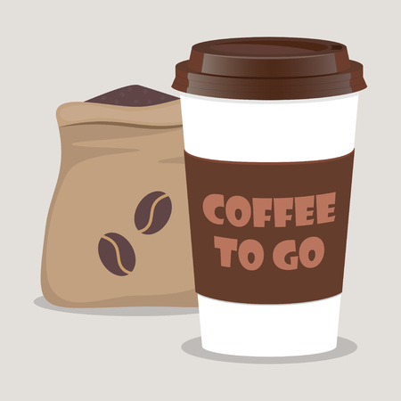 Coffee takeaway cup, realistic and sack with coffee beans. Coffee to go lettering. Close up take-out coffee with brown cap and cup holder. Vector illustration for cafe, voucher, flyer template