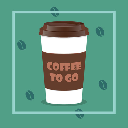 Coffee takeaway cup, realistic. Coffee to go lettering and beans on background. Close up take-out coffee with brown cap and cup holder. Vector illustration for coffee shop, voucher, flyer template
