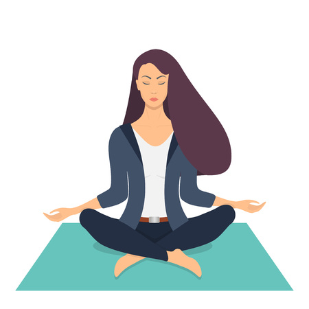 Young woman making meditation in lotus pose with closed eyes. Beautiful girl relaxes, practicing yoga on the mat. Vector flat illustration Vettoriali