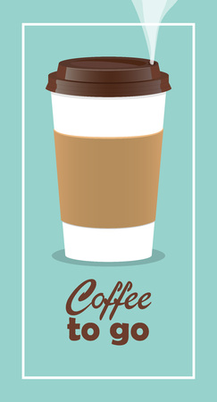 Coffee takeaway cup, realistic. Coffee to go lettering. Close up take-out coffee with brown cap and cup holder. Vector illustration for coffee shop, voucher, flyer template