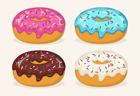 Donuts with different color frosting, set. Side view donuts in glaze, with sprinkles, for cafe menu design, cafe decoration, discount voucher, flyer, advertising poster. Vector illustration Vettoriali
