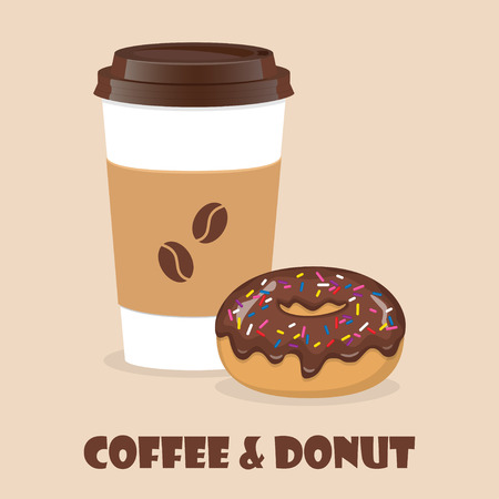 Coffee to go and donut. Vector illustration for discount voucher, flyer, cafe menu, advertising poster Vettoriali
