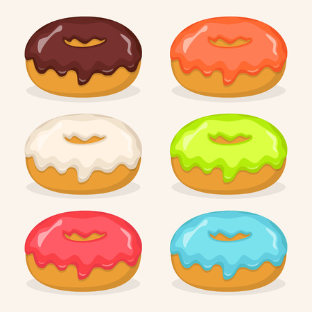 Donuts with different color frosting, set. Side view donuts in glaze for cafe menu design, cafe decoration, discount voucher, flyer, advertising poster. Vector illustration Vettoriali
