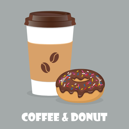 Coffee to go and donut. Vector illustration for discount voucher, flyer, cafe menu, advertising poster Illusztráció