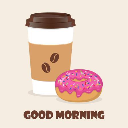 Coffee to go and donut. Vector illustration for discount voucher, flyer, cafe menu, advertising poster Çizim