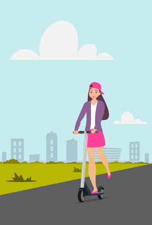 Cute girl riding kick scooter on city street. Teen girl in short skirt, jacket and baseball cap rides on scooter. Young charming female character on kick scooter, vector in flat style