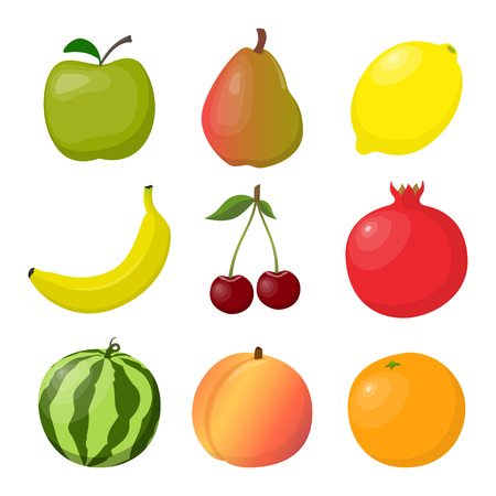 Juicy ripe fruits and berries, bright and colorful, set. Apple, pear, orange, banana, peach cherry watermelon lemon pomegranate Vector illustration