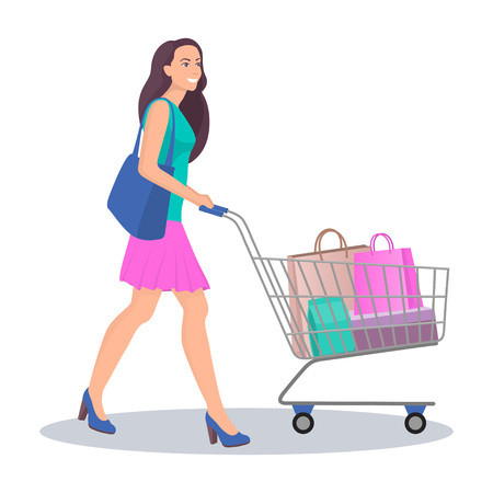Beautiful young woman with shopping cart full of packages with purchases. Happy smiling woman do shopping. Vector illustration in flat style, isolated on white Illusztráció
