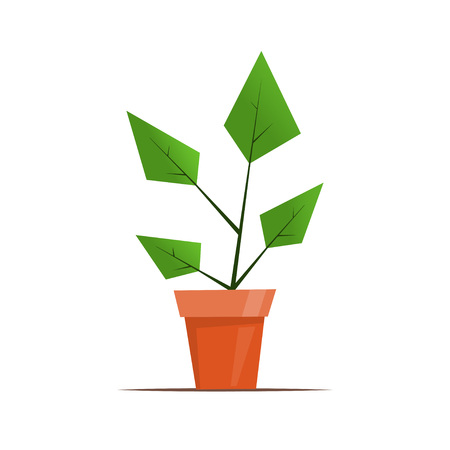 Houseplant in a pot. Cute simple graphic vector illustration in flat style for flower shop design