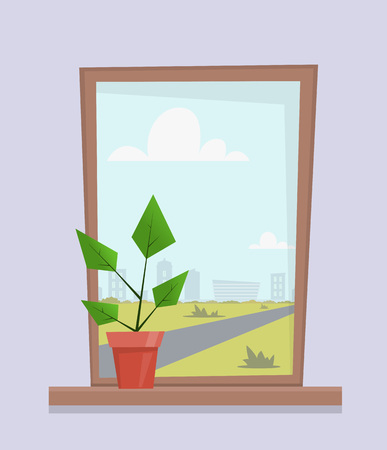 Window with house plant in pot on the window sill. City landscape outside the window. Cute cartoon vector illustration in flat style