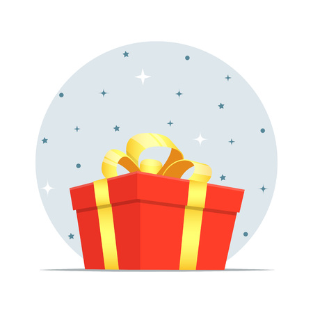 Beautiful cartoon gift box, isometric, decorated with a shiny ribbon tied with a bow on top. Cute colorful vector illustration for holiday greeting design Illusztráció
