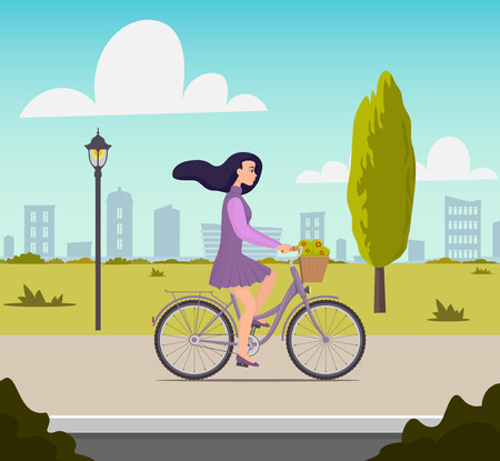 Beautiful young woman riding on a bicycle with flowers in a basket. Pretty girl in nice dress with fluttering hair in the wind rushes on bike. Vector flat illustration