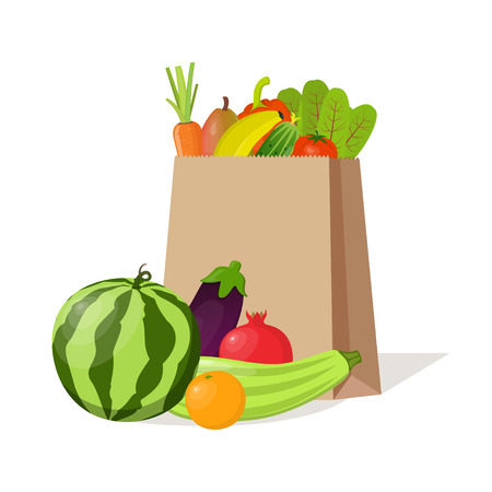 Paper bag full of natural organic vegetables and fruits. Beautiful composition with watermelon, zucchini, pomegranate, eggplant, orange, banana, beetroot, carrot, tomato, cucumber sweet pepper pear Illusztráció