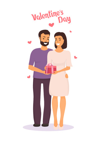 Man gives woman a gift for Valentine s day and hugs her. Happy couple in love on Valentine s day. Vector illustration in flat style