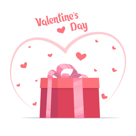 Pink gift box with big bow on it, and hearts around. Valentine s day card template. Vector illustration