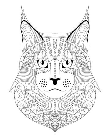 Gatto Maine Coon disegnato a mano con motivo etnico di doodle. Pagina da colorare antistress per adulti. Illustrazione vettoriale, isolato su bianco