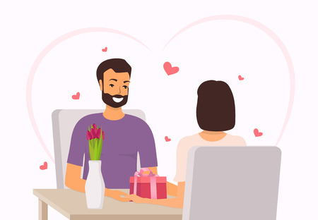 Happy couple sitting at the table in restaurant. Man gives woman a gift and flowers for Valentine s day. Happy couple in love on Valentine s day. Vector illustration in flat style