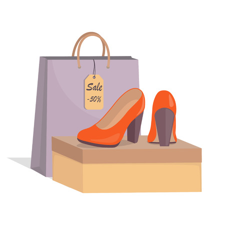 Stylish modern woman s red shoes on box, colorful paper bag and price tag with 50 percent discount. Sale in a shoe store. Footwear sale advertising banner. Vector illustration, flat style