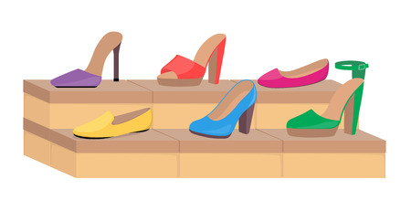 Shoe boxes with woman s footwear. Stylish modern woman s shoes on boxes, side view. Shoes in a store. Vector flat illustration