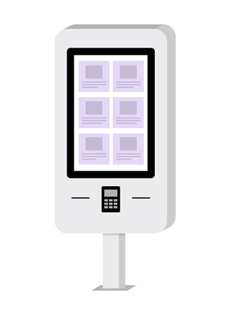 Payment and information electronic terminal with touch screen. ATM. Self-service terminal. Vector illustration in flat style
