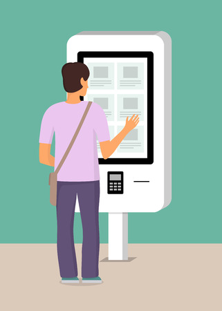 Man using self-service payment and information electronic terminal with touch screen. Vector illustration in flat style