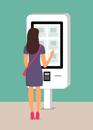 Woman using self-service payment and information electronic terminal with touch screen. Vector illustration in flat style