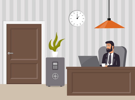 Chief s office. Boss in suit and glasses, working on laptop. Table, safe, chair, potted plant, clock and lamp. Office interior. Vector illustration