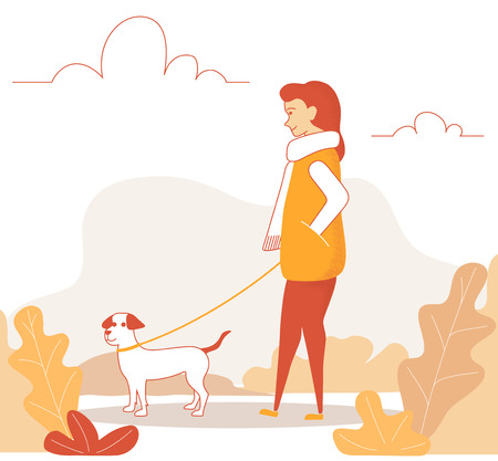Line art woman character walking with cute dog. Girl walking in autumn park with her dog. Vector illustration in a flat style