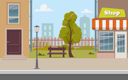 Cute cartoon town street with a shop, tree, bench, fence, street lamp. City street background vector illustration