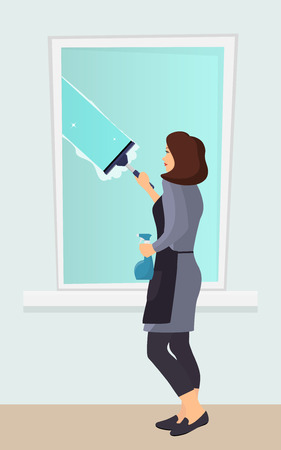 Woman washing the window with a scraper. Window cleaning. Scraper glides over the glass, making it clean. Spray glass cleaner in hand. Vector illustration