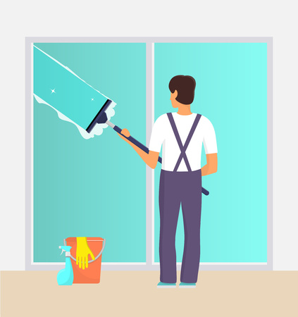 Man in uniform cleaning window with glass scraper and washing spray. Window washer with squeegee. Housekeeping service, office cleaning service, spring cleaning duty. Vector illustration Ilustrace