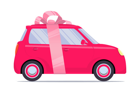 Cute little car as a gift, with pink ribbon and bow. Vector flat illustration, isolated