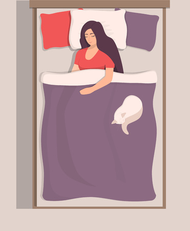 Woman sleeping in her bed, top view. Girl sleeps peacefully with her cat near. Vector illustration in flat style