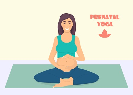 Pregnant woman doing yoga exercises on the mat. Pregnant women in lotos pose. Prenatal yoga. Vector illustration in flat style Çizim