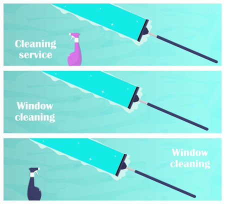 Window cleaning horizontal banners. Glass scraper glides over the glass, making it clean. Window cleaning service concept. Vector illustration in flat style Çizim