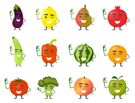 Large set of funny fruits and vegetables cartoon characters smiling with hands and legs isolated on white background. Cheerful food mascots in flat design.