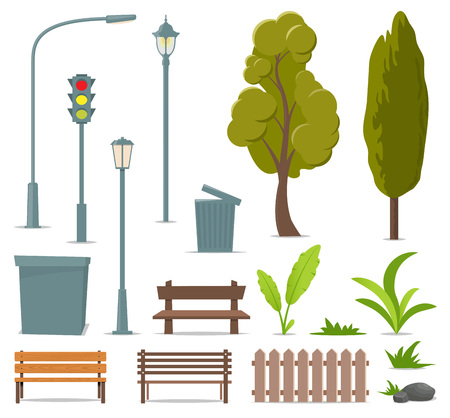 City and outdoor elements. Set of urban objects. Street lamp, traffic light, tree, bench, trash can, urn, bushes, grass plants stone fence Vector illustration