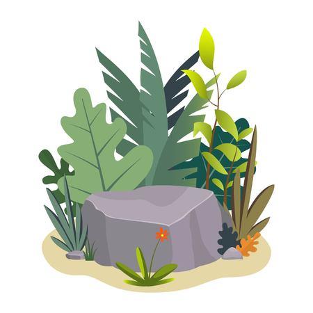 Landscape design composition with plant and stones. Cute floral composition for greeting card, banner, flyer, app, website on ecological, botanic, landscape design themes. Vector illustration Imagens - 124981514
