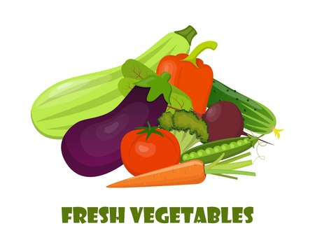 Natural organic vegetables. Beautiful composition for card, banner, poster, flyer, app, website on healthy eating, ecological, dietology nutrition vegetarian themes Vector illustration